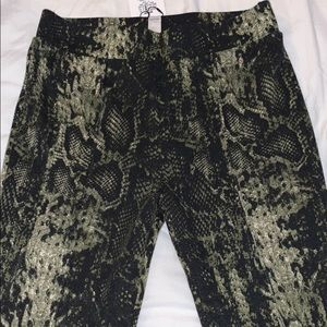 Green & Black Snakeskin Stretchy Wide Leg Pants